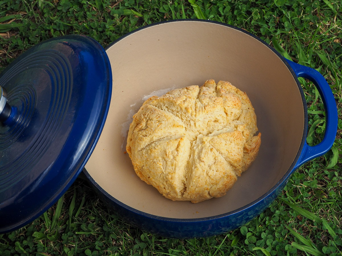 Damper in a Dutch oven on the grass.