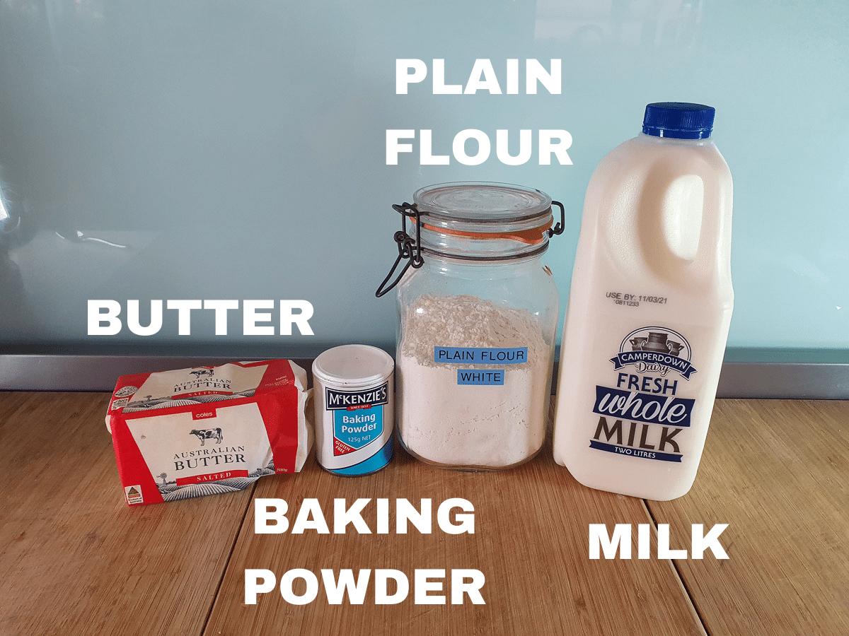Damper ingredients, butter, baking powder, plain flour, milk.