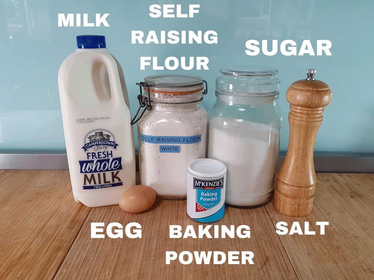 Pikelets ingredients, milk, egg, self raising flour, baking powder, sugar, salt.
