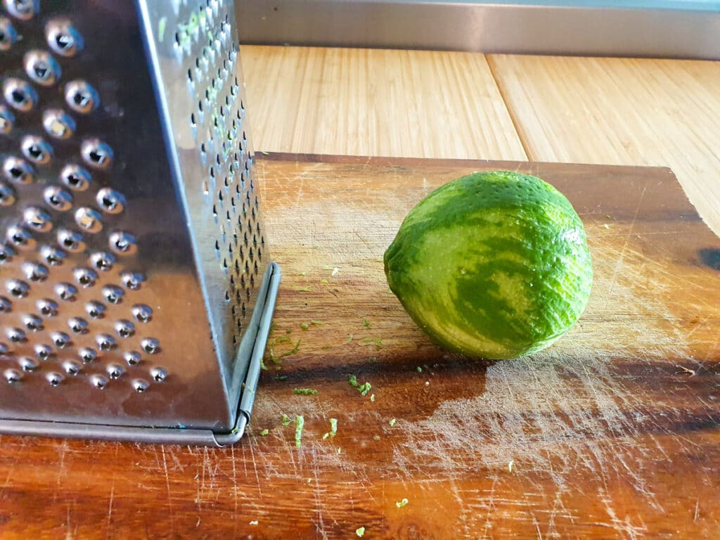 Zesting lime.