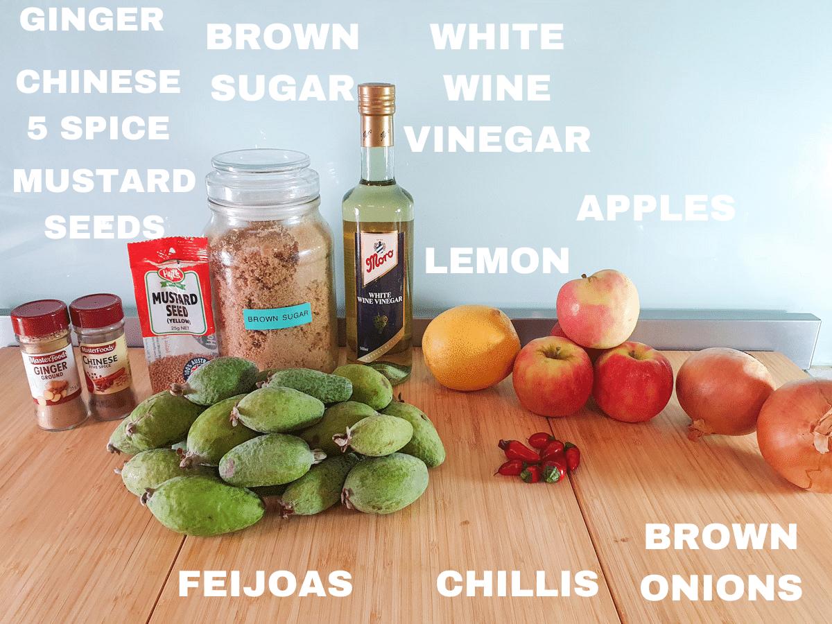 Feijoa chutney ingredients, feijoas, ginger, Chinese five spice, mustard seeds, brown sugar, white wine vinegar, lemon, chillis, apples, brown onions.