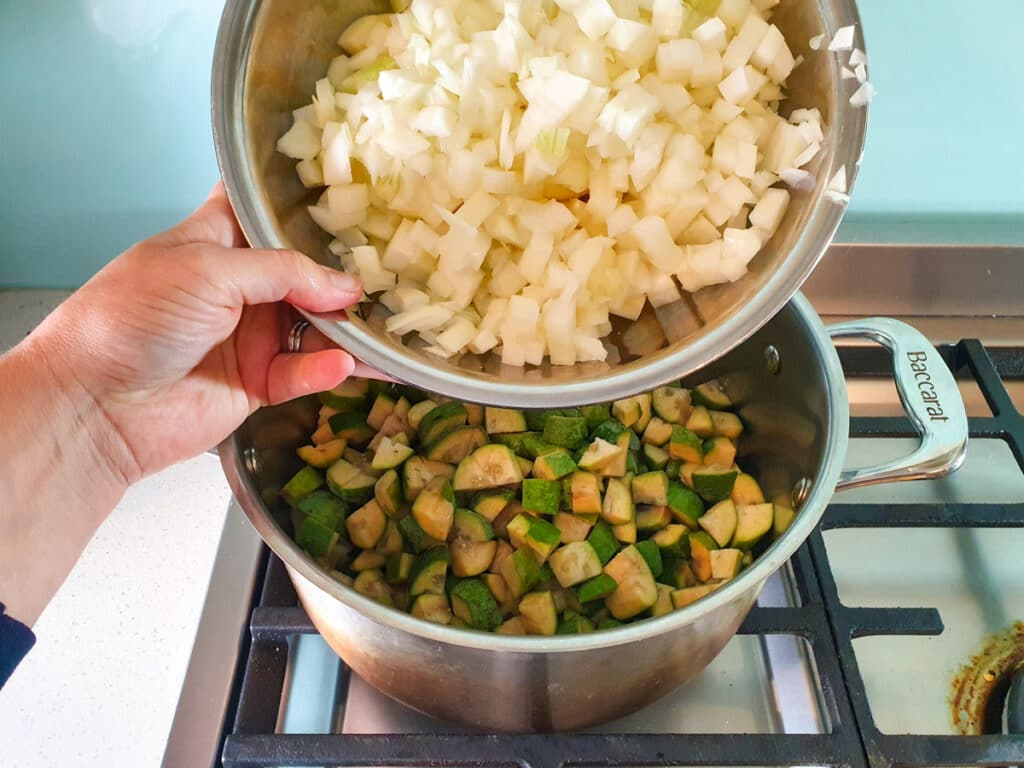 Adding diced apples and onions to pot.