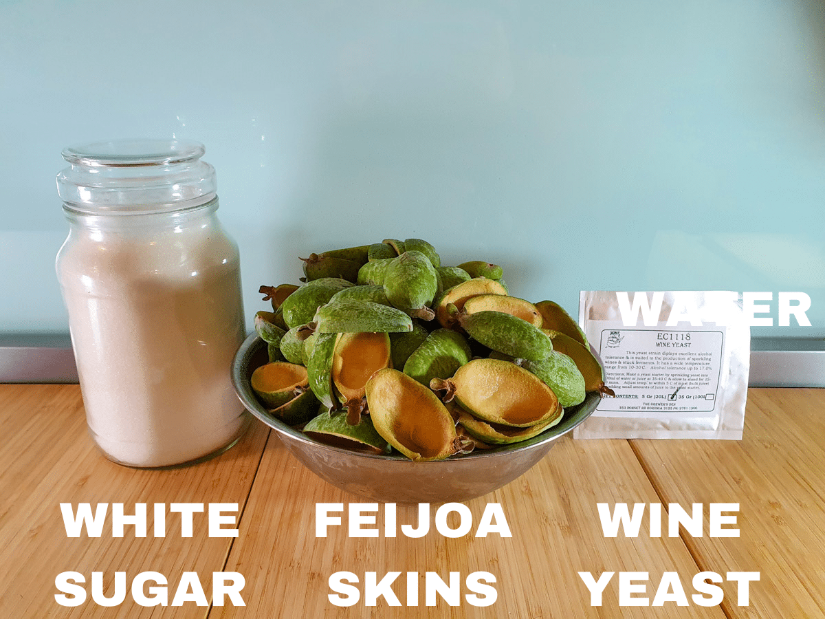 Feijoa fizz ingredients, white sugar, feijoa skins, champagne/wine yeast (optional), water (not pictured).