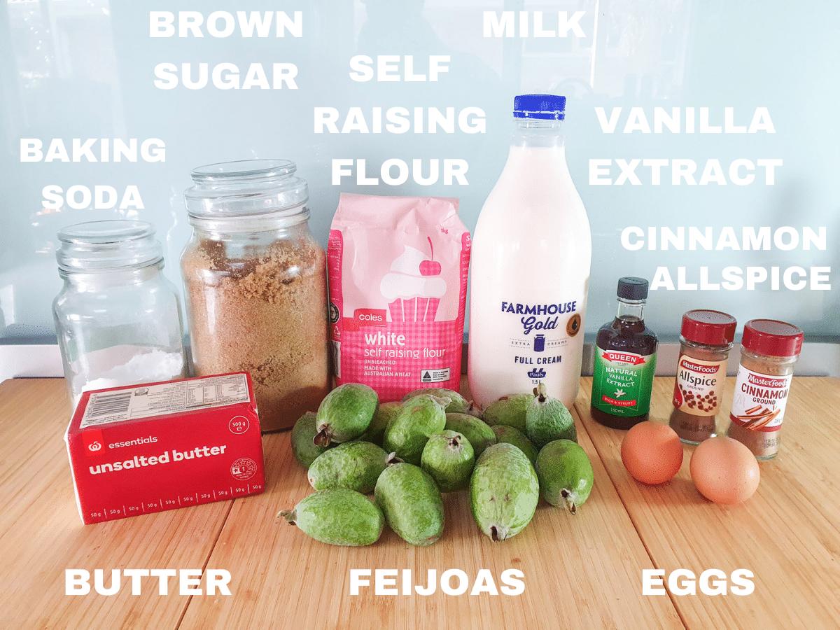 Feijoa loaf ingredients, feijoas, butter, eggs, baking soda, brown sugar, self raising flour, milk, vanilla extract, cinnamon, all spice.