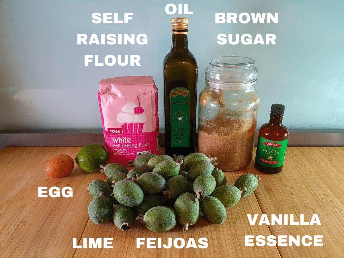 Feijoa muffins ingredients, egg, lime, feijoas, oil, brown sugar, self raising flour, vanilla essence.
