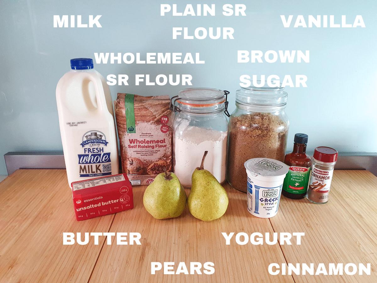 Pear muffin ingredients, milk, butter, pears, wholemeal self raising flour, white self raising flour, brown sugar, Greek yogurt, vanilla extract, cinnamon.