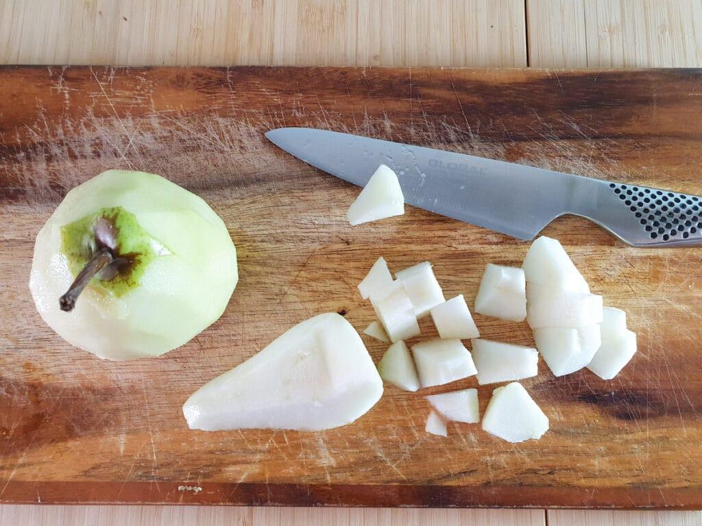 Peeling, coring and slicing pears.
