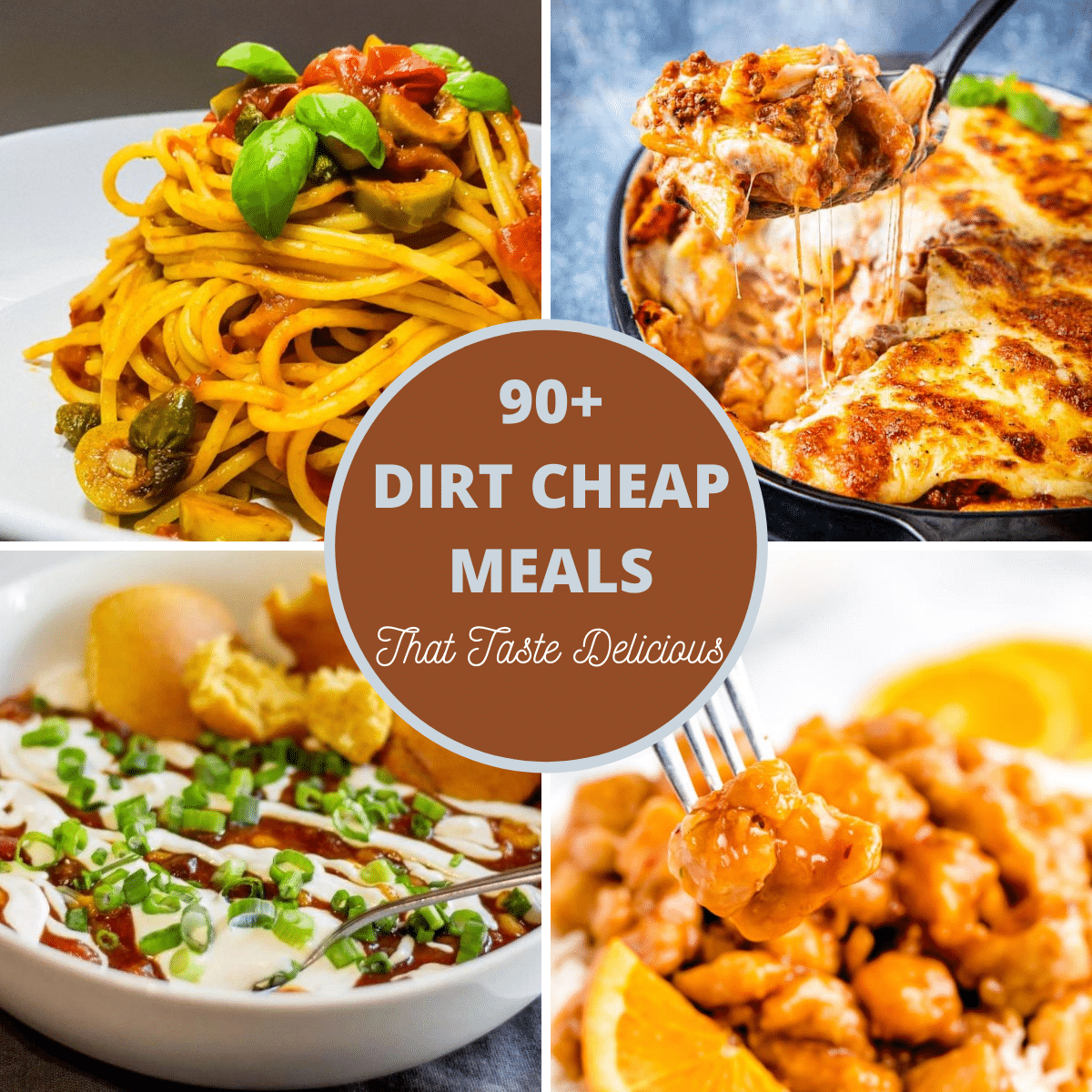 4 images from the Dirt cheap meals listed.