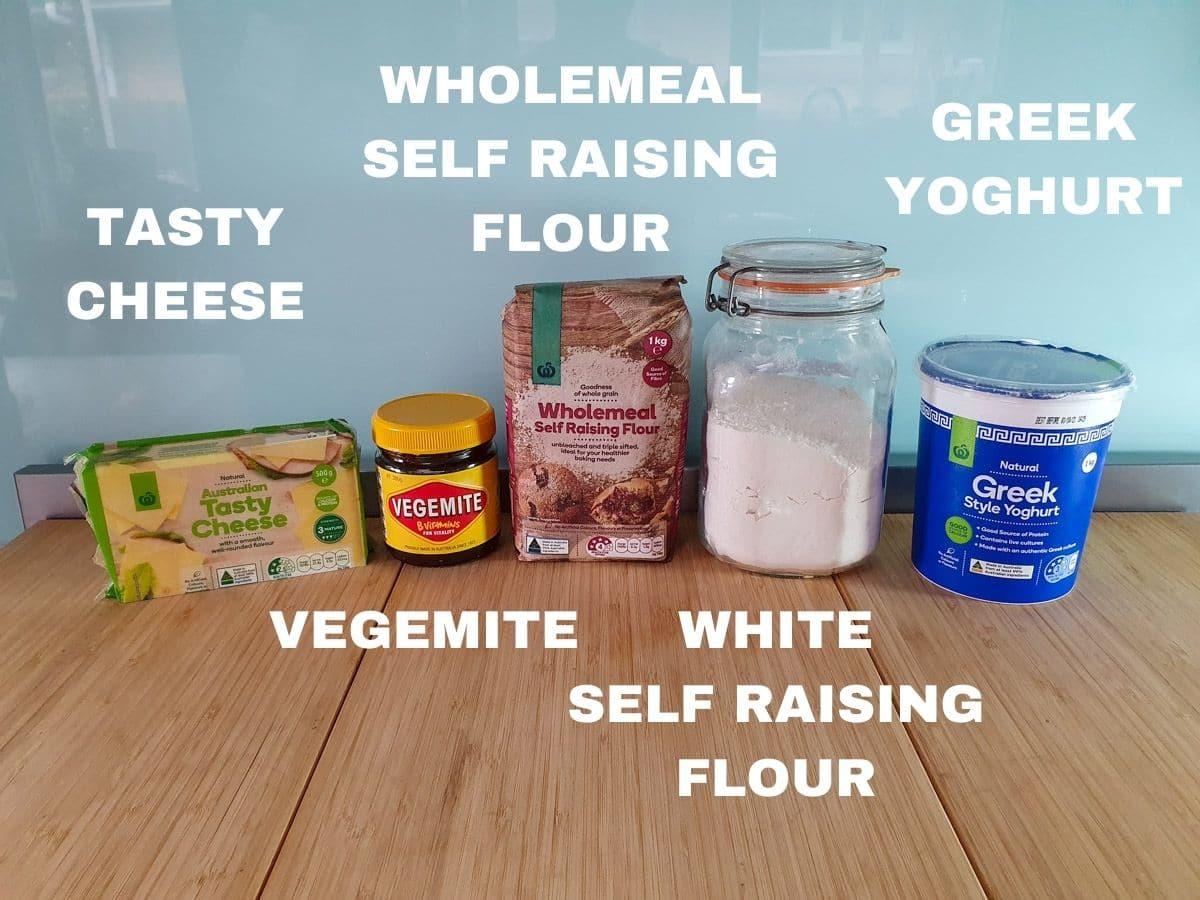 Scroll ingredients, tasty cheese, vegemite, wholemeal self raising flour, plain self raising flour, Greek yoghurt.